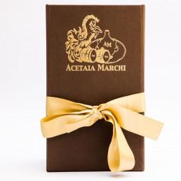 Scatola con nastro giallo Acetaia Marchi - confezioni regalo - Aceto Balsamico Tradizionale di Modena D.O.P.