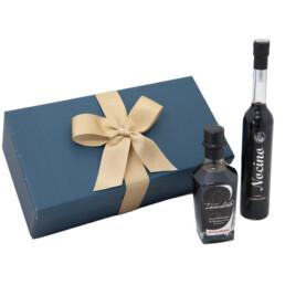Geschenkverpackung-mit-Balsamico-Essig-von-der-Modena-i-g-gealtert-silber-liqueur-nocino-reserve
