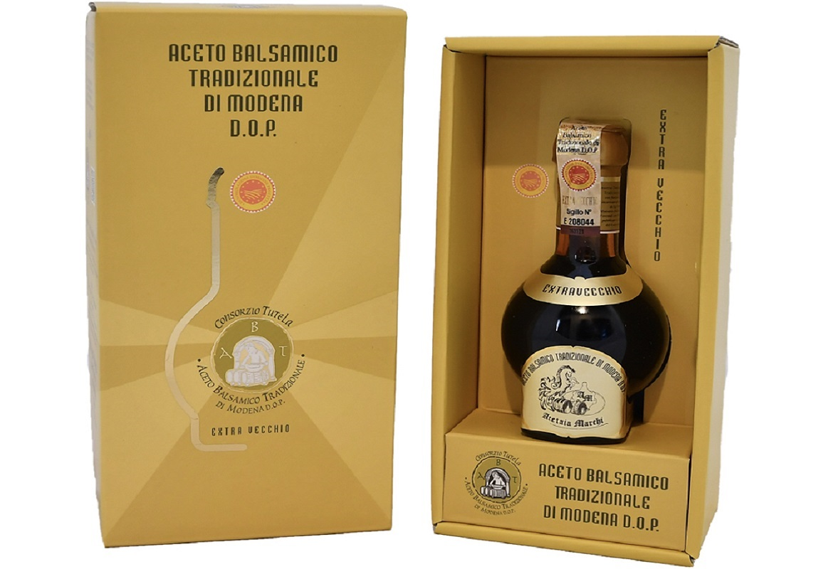 Exquisite packaging of Traditional Balsamic Vinegar of Modena P.D.O.
